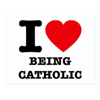 Eu amo ser católico cartao postal