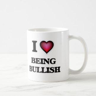 Eu amo ser com tendência para a alta caneca de café