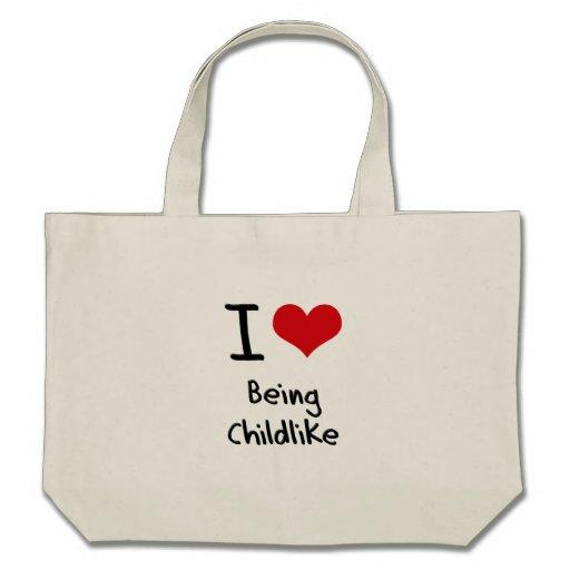 Eu amo ser infantil bolsas de lona