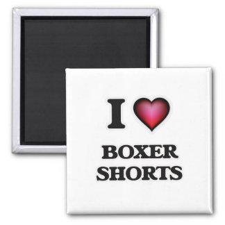 Eu amo Shorts do pugilista Ímã Quadrado