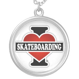 Eu amo Skateboarding Colar Com Pendente Redondo