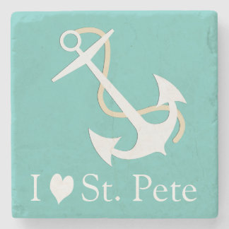 Eu amo St. Pete náutico Porta Copos De Pedras