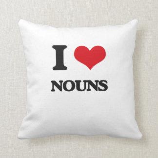 Eu amo substantivos travesseiros de decoração