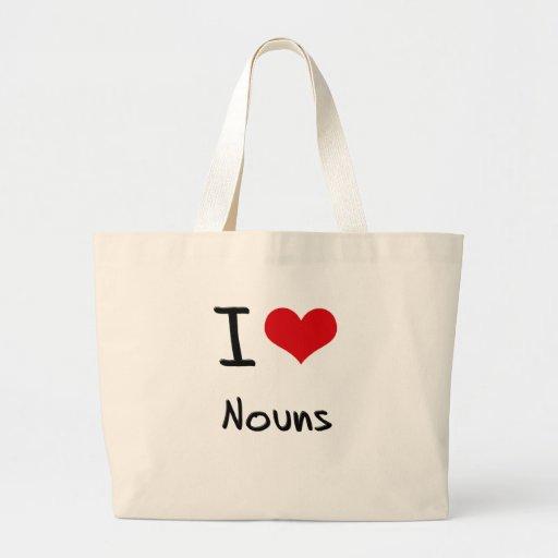 Eu amo substantivos bolsas para compras