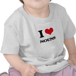 Eu amo substantivos tshirts