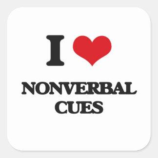 Eu amo sugestões nãos verbal adesivo em forma quadrada