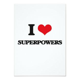 Eu amo superpotências convite 12.7 x 17.78cm