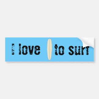 Eu amo surfar adesivo para carro