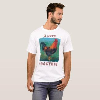 """Eu amo t-shirt colorido dos galos"" Camiseta"