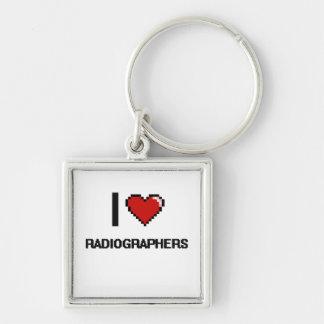 Eu amo técnico de radiologia chaveiro quadrado na cor prata