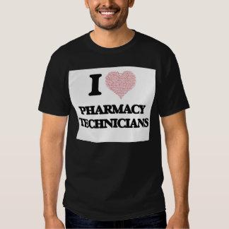 Eu amo técnicos da farmácia (coração feito das t-shirts