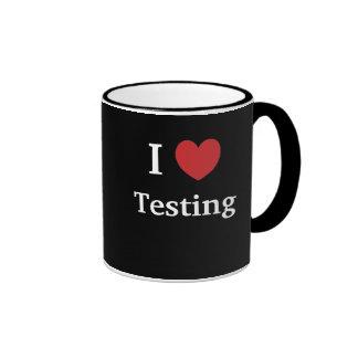 Eu amo testar amo-me verificador inspirador caneca com contorno