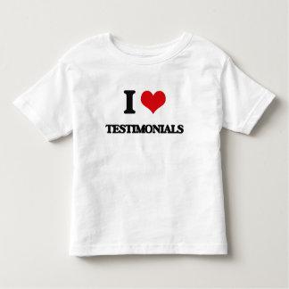 Eu amo Testimonials Camisetas