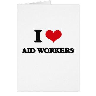 Eu amo trabalhadores de auxílio cartão