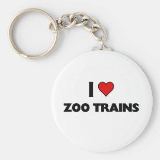 Eu amo trens do jardim zoológico chaveiro