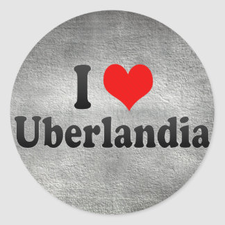 Eu amo Uberlandia, Brasil Adesivos Em Formato Redondos