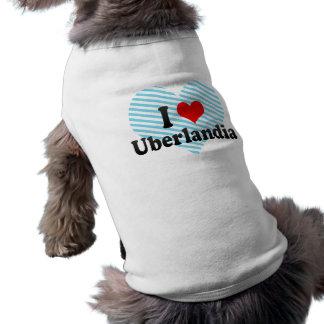 Eu amo Uberlandia, Brasil Camisa Sem Mangas Para Cachorro