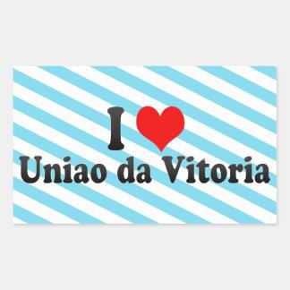 Eu amo Uniao a Dinamarca Vitoria, Brasil Adesivo Em Formato Retângular