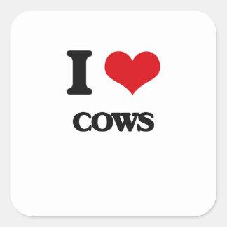 Eu amo vacas adesivo em forma quadrada