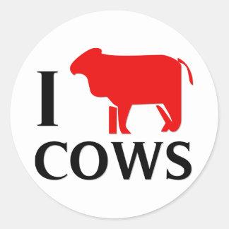 Eu amo vacas adesivo em formato redondo