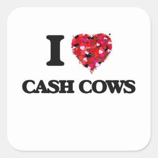 Eu amo vacas de dinheiro adesivo quadrado