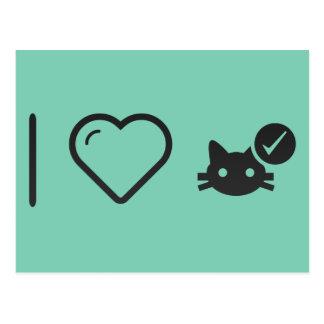 Eu amo vacinas do gato cartão postal