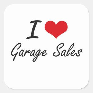 Eu amo vendas de garagem adesivo quadrado
