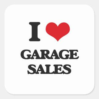 Eu amo vendas de garagem adesivos quadrados
