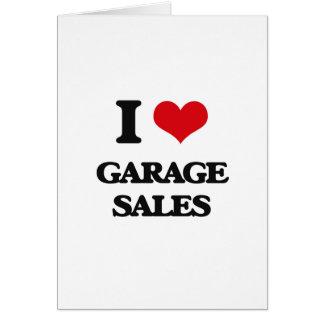 Eu amo vendas de garagem cartões