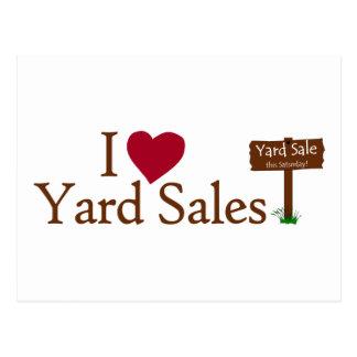 Eu amo vendas de jardim cartoes postais