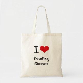 Eu amo vidros de leitura sacola tote budget