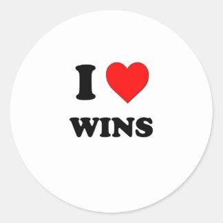 Eu amo vitórias adesivos em formato redondos