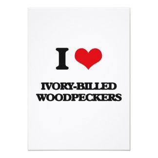 Eu amo Woodpeckers Marfim-Faturados Convites Personalizados