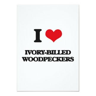 Eu amo Woodpeckers Marfim-Faturados Convites Personalizado
