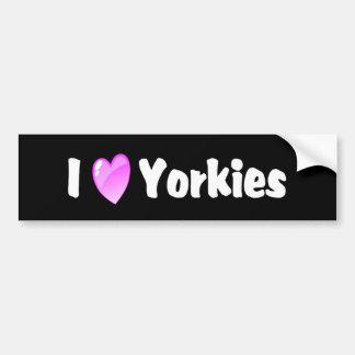 Eu amo Yorkies Adesivo Para Carro