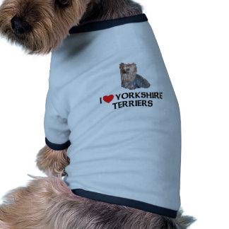 Eu amo yorkshires terrier roupa para pet
