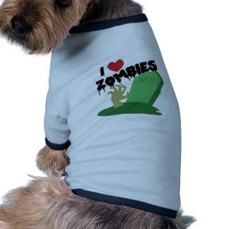 Eu amo zombis camisetas para cães