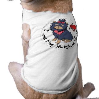 Eu-Amor-Meu-Yorkshire-Terrier Camisa Sem Mangas Para Cachorro
