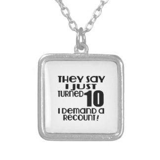 Eu apenas girei a procura 10 uma descrição colar banhado a prata