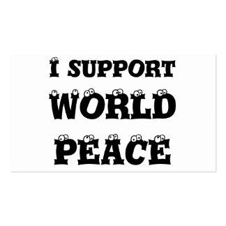 Eu apoio a paz de mundo, cartões de visitas