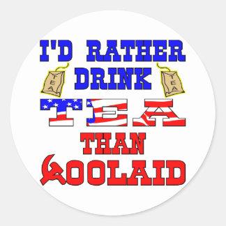 Eu chá da bebida da preferencialmente do que o adesivo