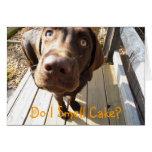 Eu cheiro o bolo? Cartão do laboratório do chocola