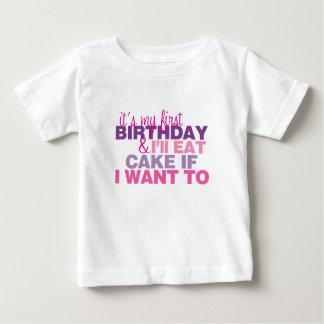 Eu comerei o bolo se eu quero ao Tshirt do Camiseta Para Bebê