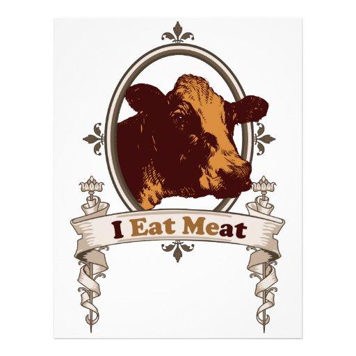 Eu como a vaca da carne panfleto personalizados