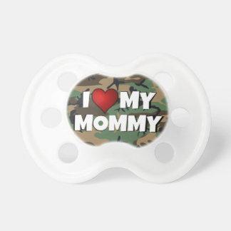 Eu (coração) amo minha camuflagem das mamães - beb chupeta de bebê