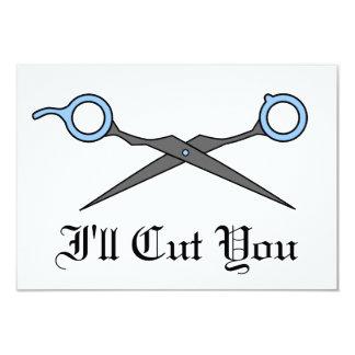 Eu cortá-lo-ei (as tesouras azuis do corte do convites