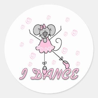 Eu danço a etiqueta do balé do rato adesivo
