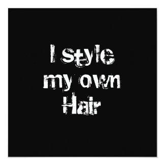 Eu denomino meu próprio cabelo. Preto e branco. Convite Quadrado 13.35 X 13.35cm