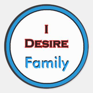 Eu desejo a família adesivo em formato redondo