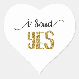 Eu disse a etiqueta SIM Wedding com letras do